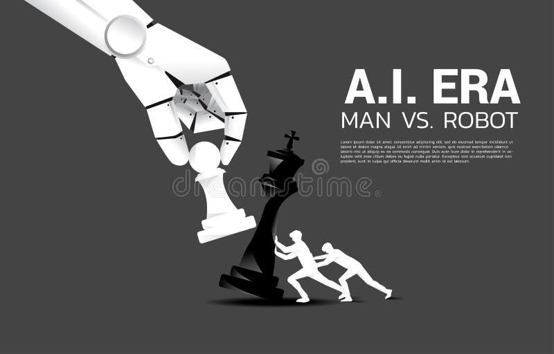 Zakończenie w górę robot ręki próby szachować szachową grę istota ludzka ilustracja wektor