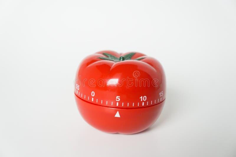 Zakończenie w górę widoku machinalny pomidor kształtujący kuchnia zegaru zegar dla gotować i studiować Używać dla pomodoro techni fotografia stock
