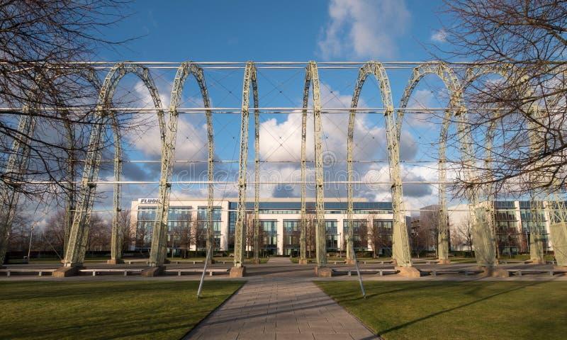 Zakończenie w górę wojny światowej 1 sterowa hangaru na oryginalnym Farnborough lotniska miejscu Farnborough Biznesowy park, tera obrazy royalty free