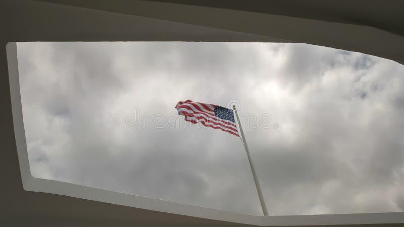 Zakończenie w górę zlanych stanów zaznacza przy Arizona pomnikiem przy pearlem harbour zdjęcia royalty free