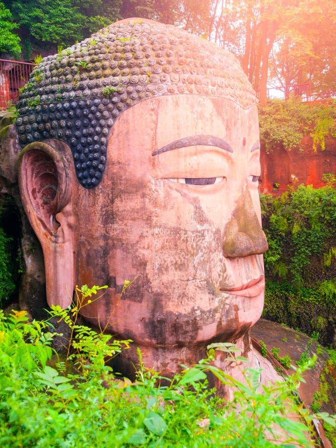Zakończenie widok Dafo - giganta Buddha statua w Leshan, prowincja sichuan, Chiny zdjęcie royalty free