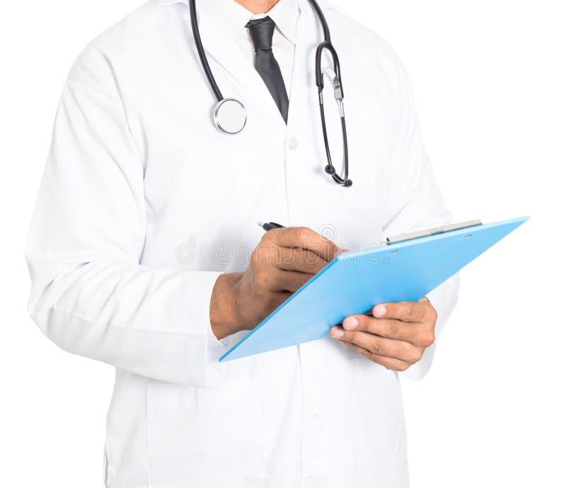 Zako?czenie up m?ski medycyny lekarki writing na schowku Medyczny i opieka zdrowotna poj?cie obrazy stock