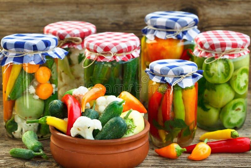 Zakonserwowany i świezi warzywa obrazy stock