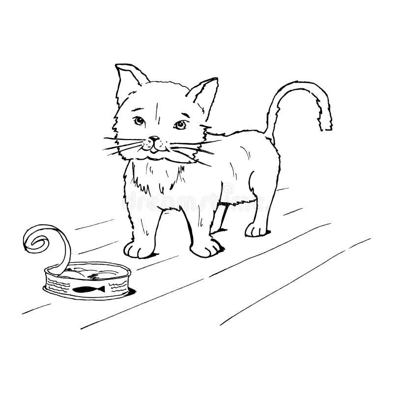 Zakonserwowany ryba kot i - zakonserwowany ilustracja royalty ilustracja