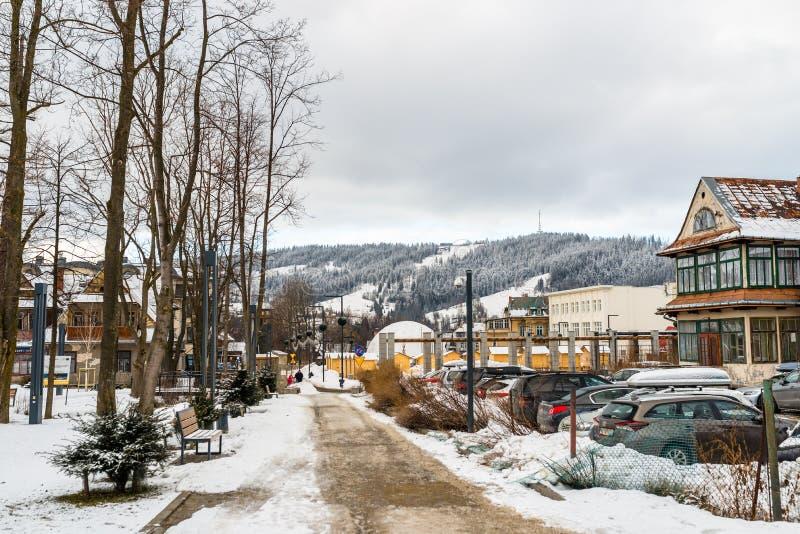Zakopane, Polônia - 22 de fevereiro de 2019 Parque na cidade coberta com a neve, o passeio visível, os carros no parque de estaci imagem de stock royalty free