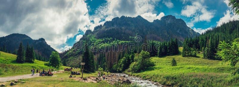 Zakopane/Polonia - julio 08 Opinión panorámica 2018 sobre el valle entre las montañas foto de archivo