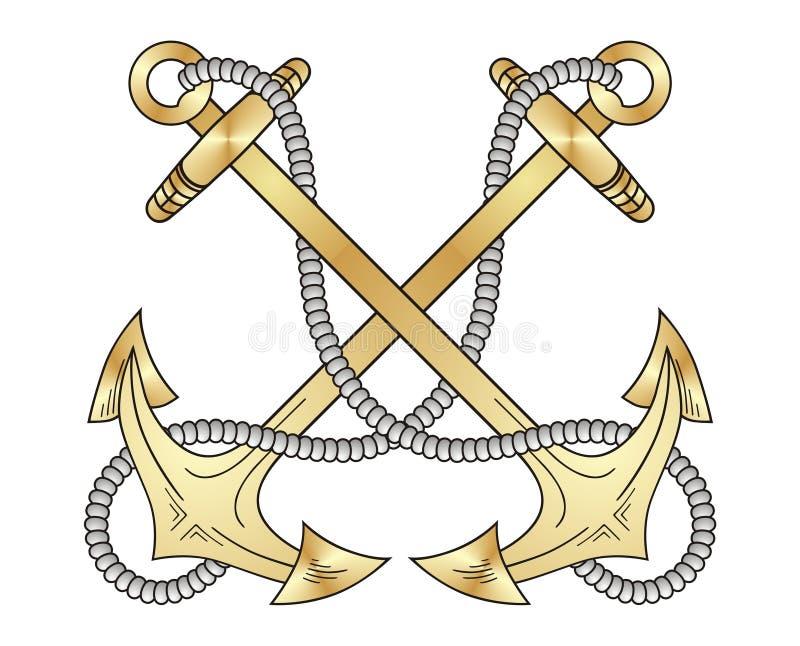 zakotwicza złoto ilustracja wektor