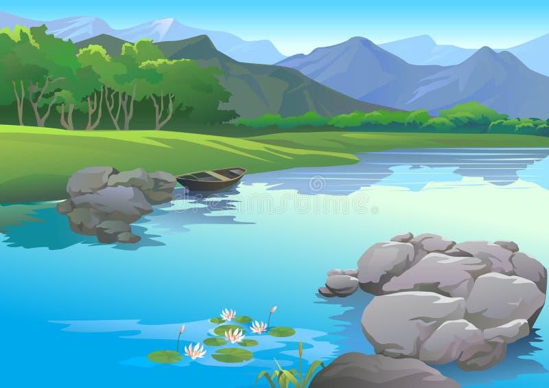 zakotwiczający łódkowaty brzeg rzeki ilustracja wektor