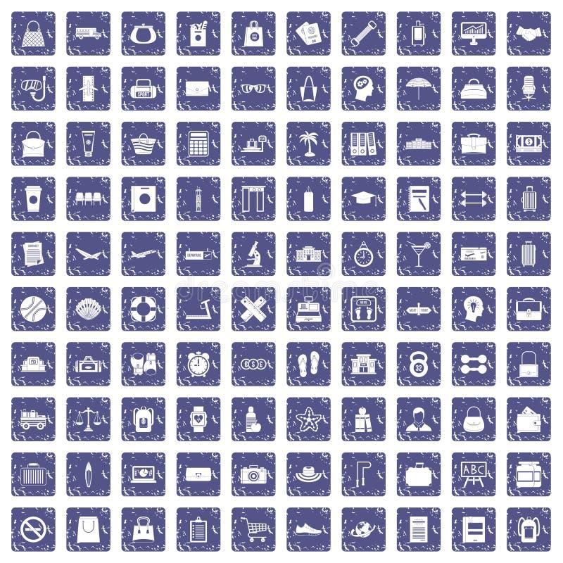 Download 100 Zakpictogrammen Geplaatst Grunge Saffier Vector Illustratie - Illustratie bestaande uit stoel, cruise: 107707455