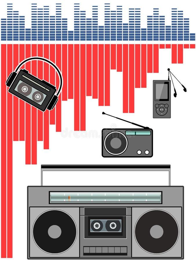 zakradio, stereo-installatie, mp3-speler stock afbeelding