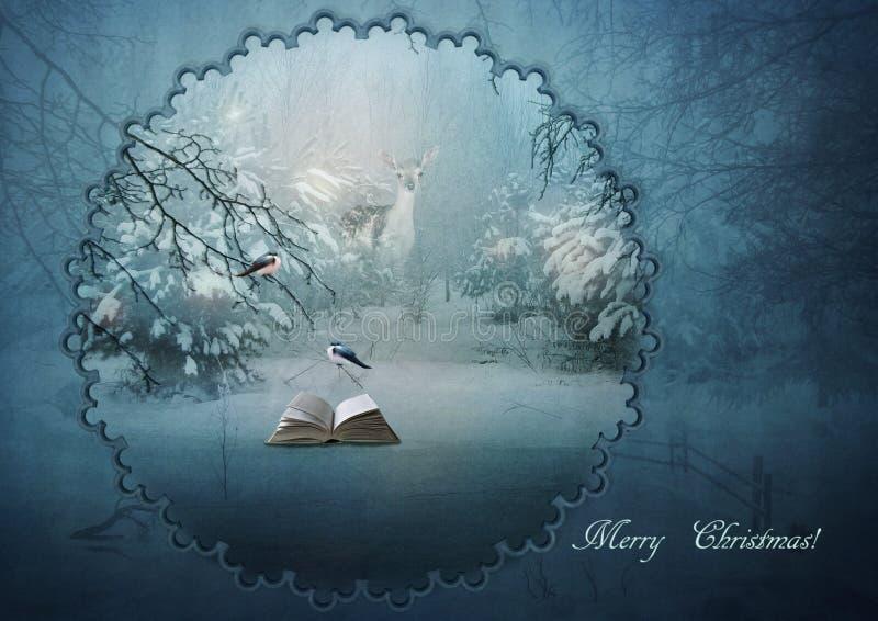 zakrywająca czarodziejskiego lasu domu śniegu bajki zima drewniana royalty ilustracja