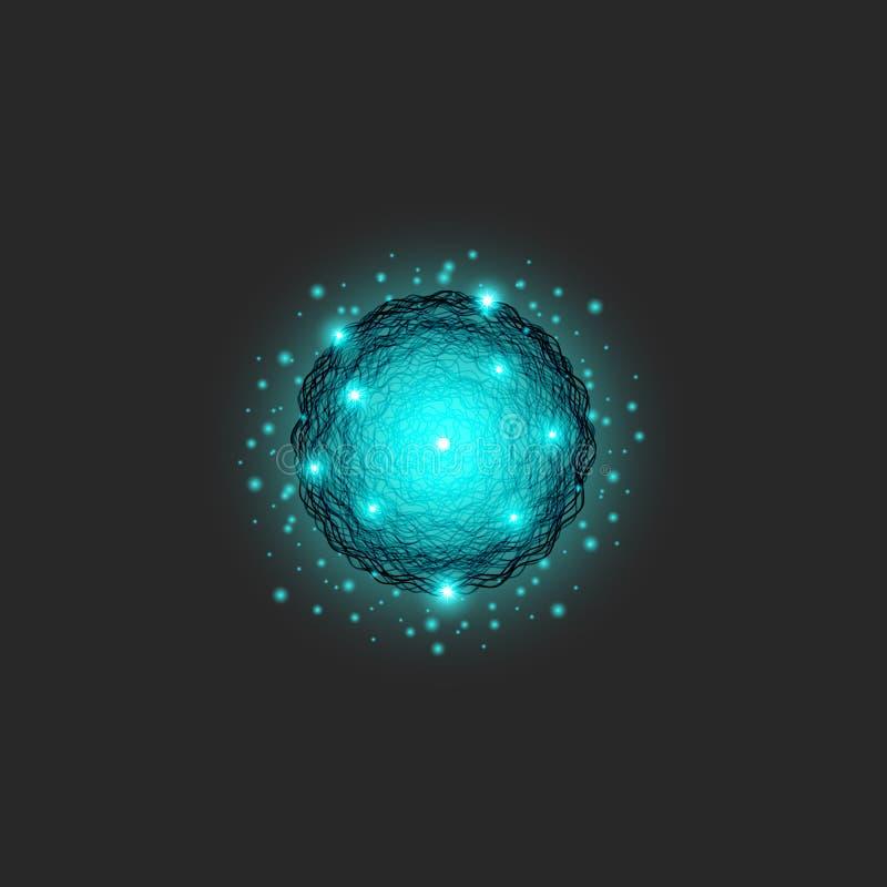 Zakrzep energetyczny logo jest substancją błękitny kolor, okregów kształtów cząsteczki dynamiczne serie, nauki fractal round teks royalty ilustracja