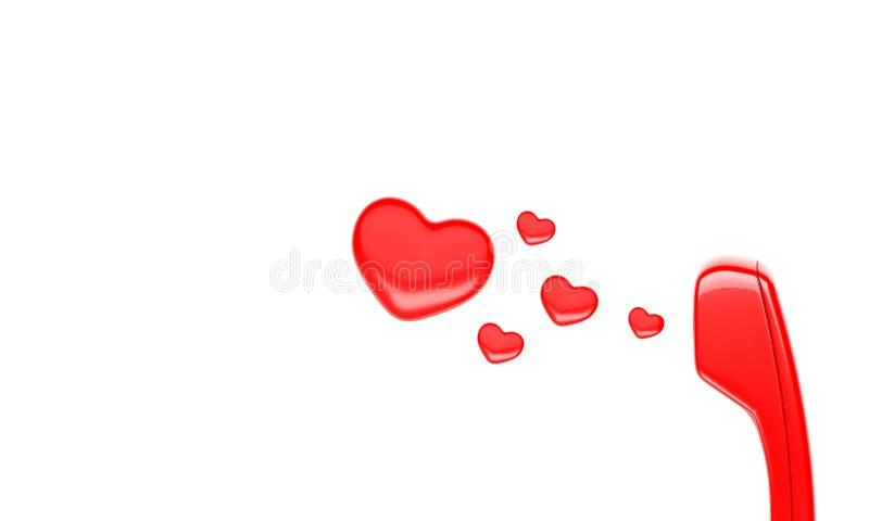 Zaktelefoon en hart royalty-vrije illustratie