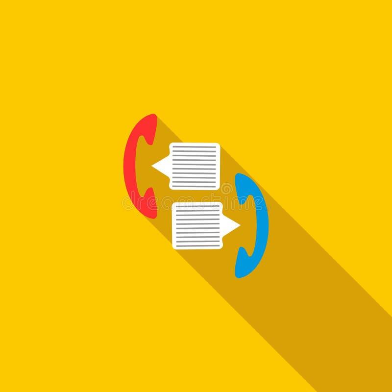 Zaktelefoons met het pictogram van toespraakbellen, vlakke stijl vector illustratie