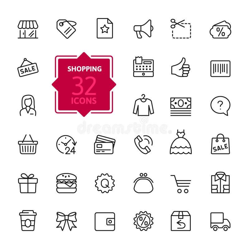 Zakupów centra handlowe, handel detaliczny - zarysowywa sieci ikony kolekcję, wektor, cienkie kreskowe ikony inkasowe royalty ilustracja