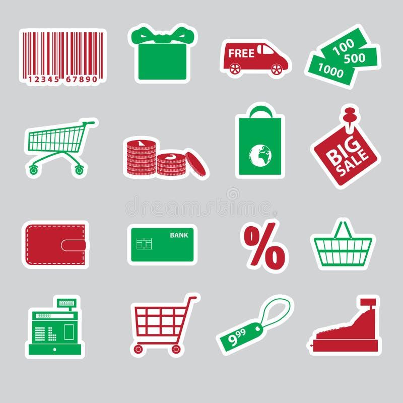 Zakupów majchery ustawiają eps10 ilustracja wektor