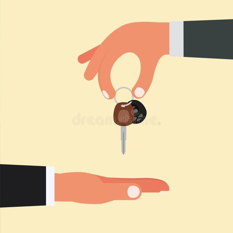 Zakup, bubel lub kupienie samochodowy pojęcie projekt, Sprzedawca ręki hol ilustracja wektor