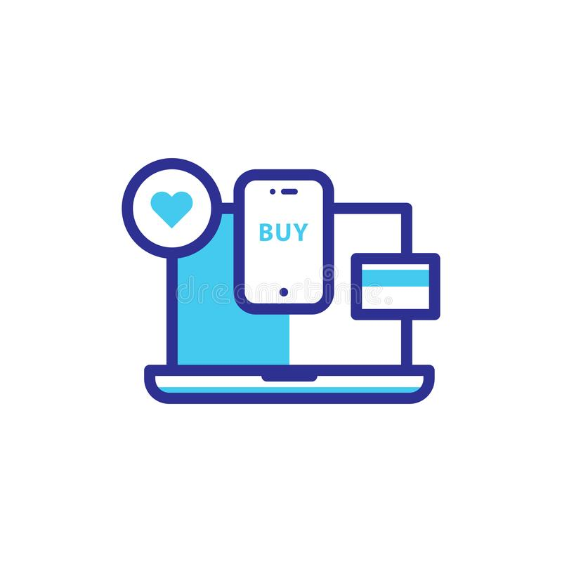 Zakup ikona z monitor wypełniającą linią ilustracji