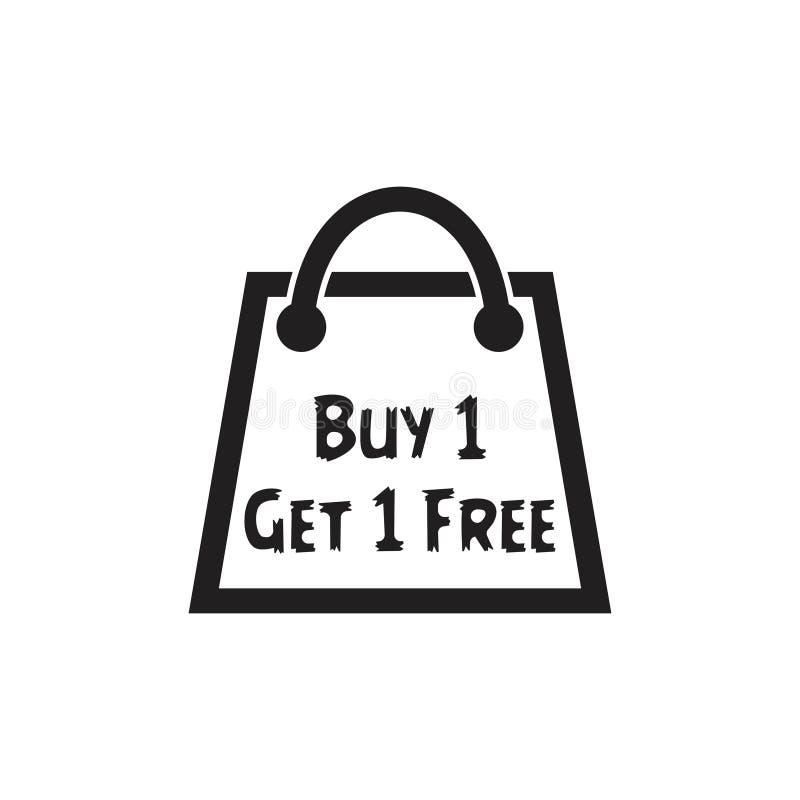 Zakup jeden dostaje jeden torba na zakupy symbolu wektor ilustracja wektor