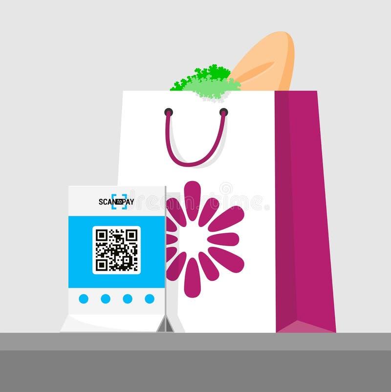 Zakup płacący qr kodem Wektorowa ilustracja pakunek z produktami w sklepie Płaski isometric infographics Obrazu cyfrowego qr royalty ilustracja