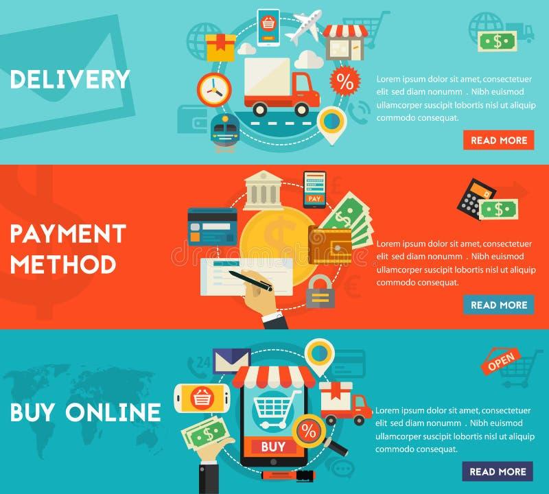 Zakup, Płatnicze metody I Doręczeniowy pojęcie Online, ilustracja wektor