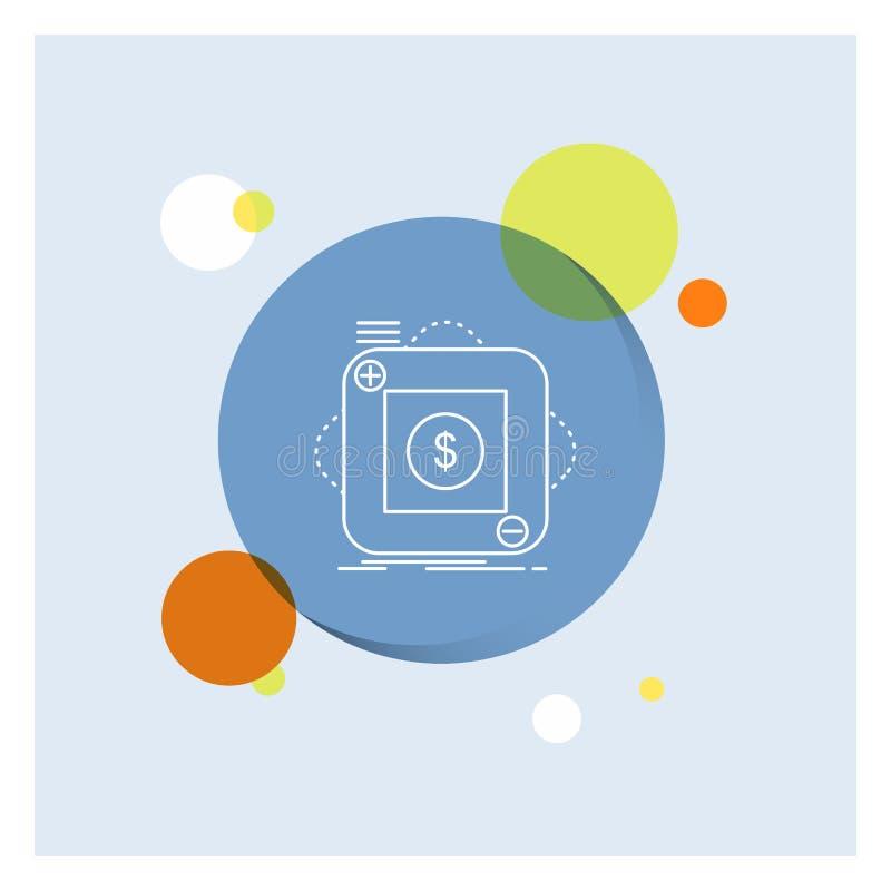 zakup, sklep, app, zastosowanie, mobilnej Białej linii ikony okręgu kolorowy tło ilustracja wektor