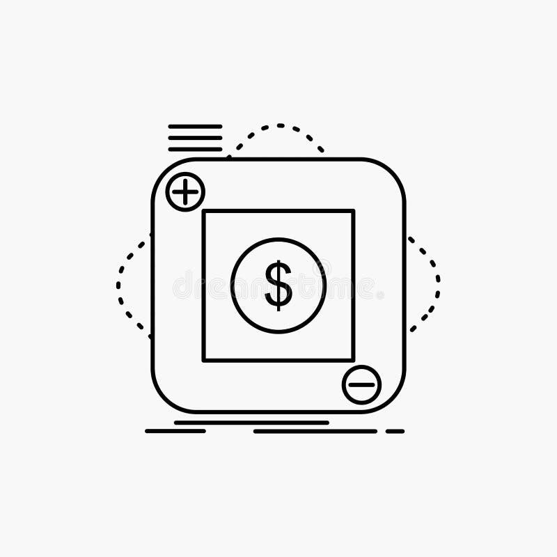 zakup, sklep, app, zastosowanie, wisz?cej ozdoby Kreskowa ikona Wektor odosobniona ilustracja ilustracja wektor