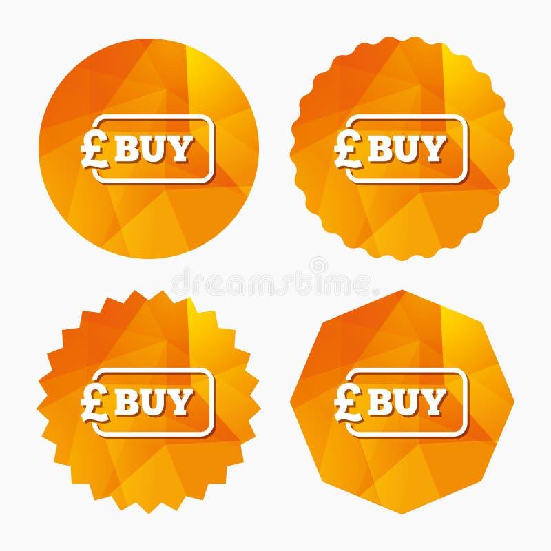 Zakup szyldowa ikona Online kupienie funta guzik ilustracji