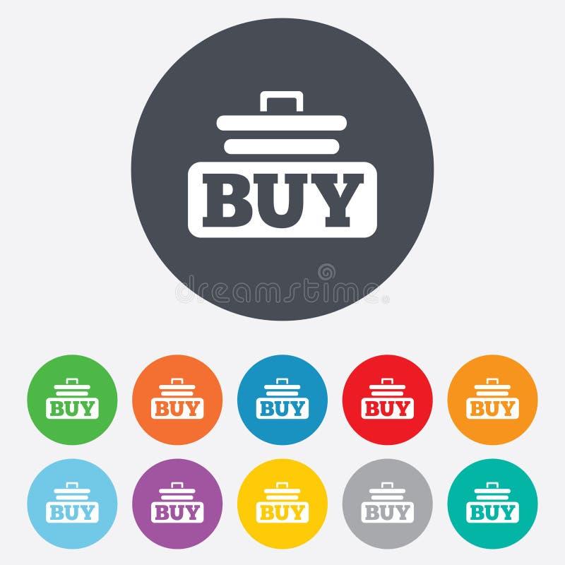 Zakup szyldowa ikona. Online kupienie fury guzik. ilustracja wektor
