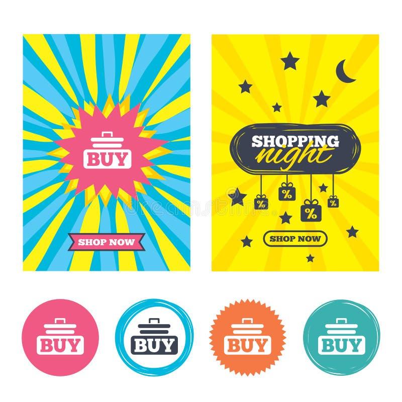 Zakup szyldowa ikona Online kupienie fury guzik ilustracji