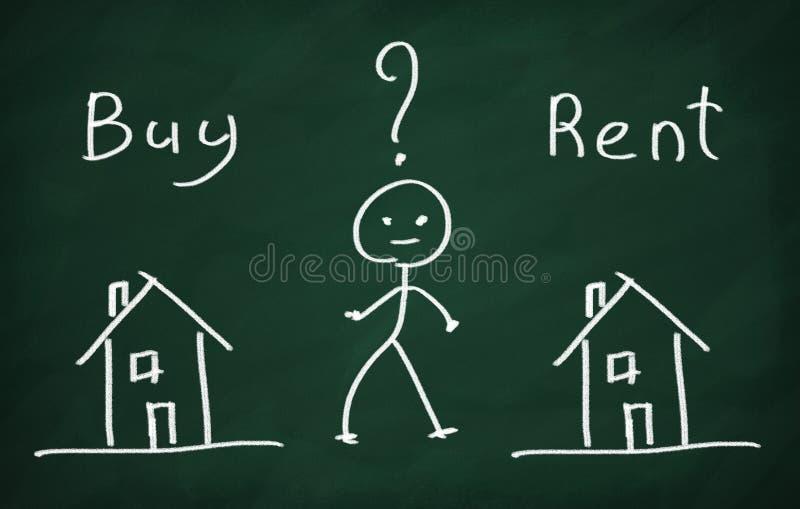 Zakupu czynsz lub dom? royalty ilustracja