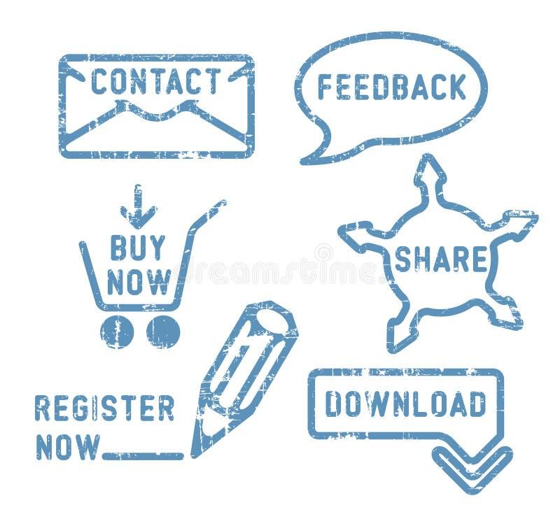 zakupu kontaktowe informacje zwrotne ikony dzielą prostego wektor ilustracji