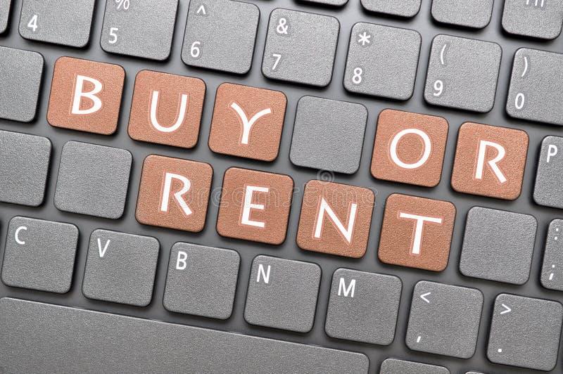 Zakupu lub czynszu klucz na klawiaturze fotografia royalty free