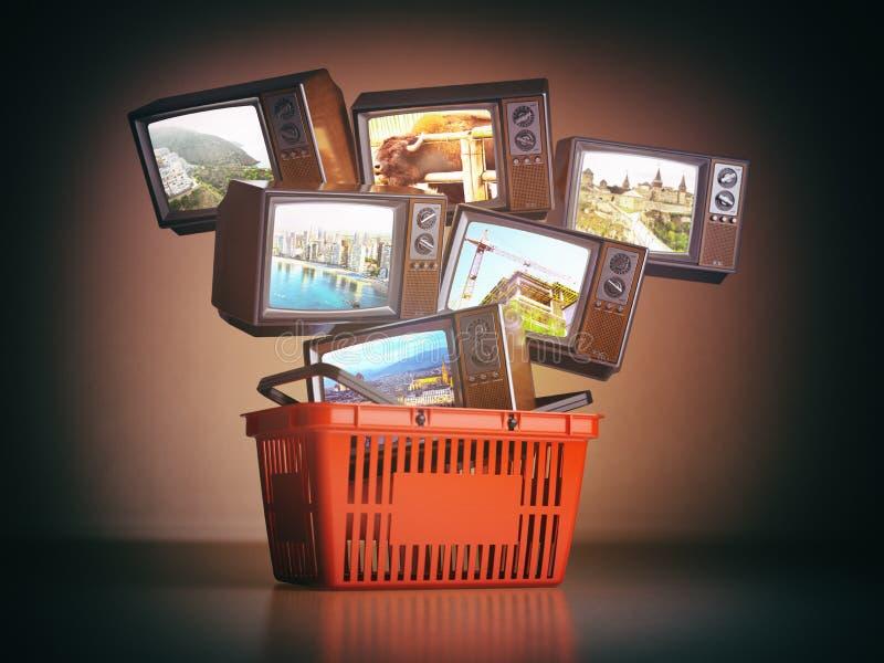 Zakupy backet i starzy telewizory z różnymi kanałami na s ilustracja wektor