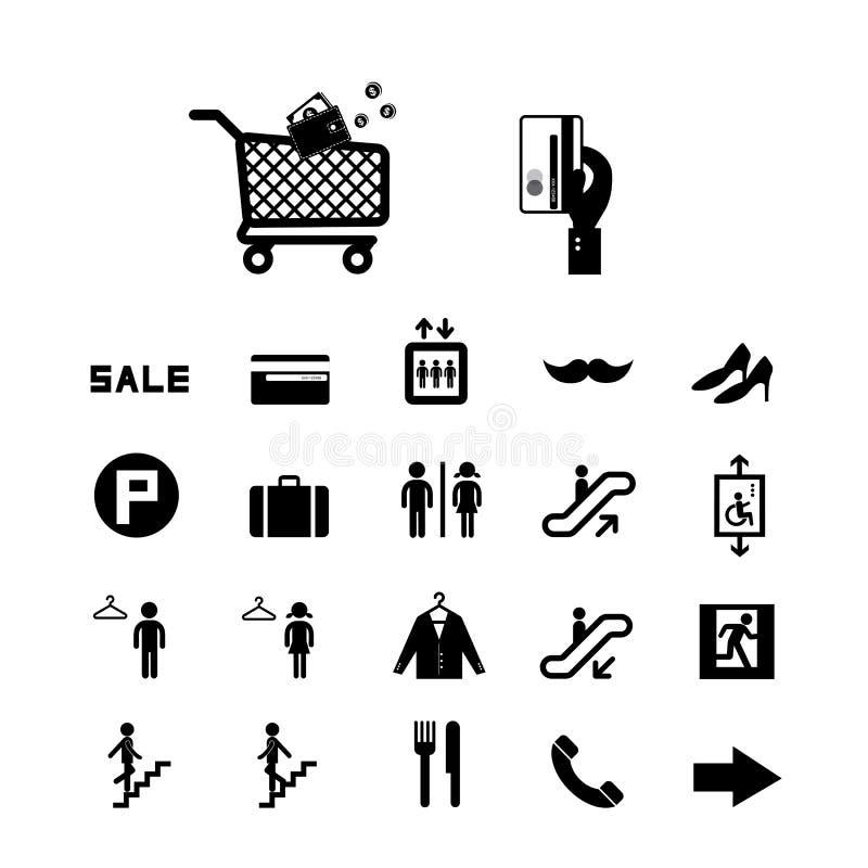 Zakupy centrum handlowego ikony ustawiać ilustracja wektor