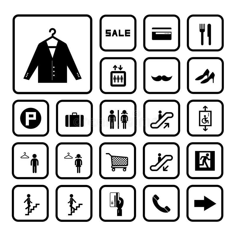 Zakupy centrum handlowego ikony ustawiać ilustracji