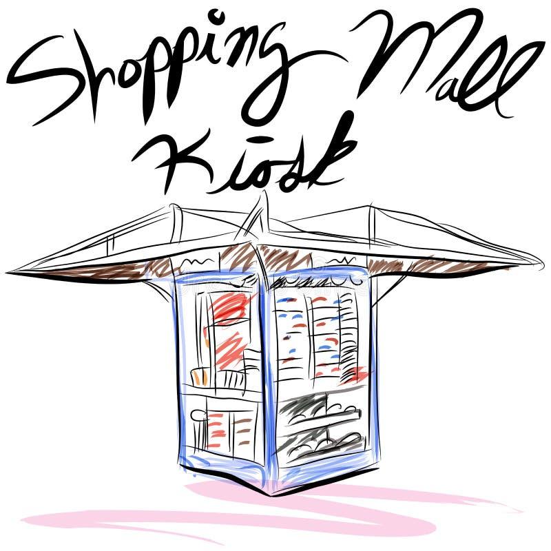 Zakupy Centrum handlowego Kiosk ilustracja wektor