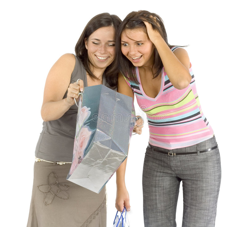 zakupy dwie kobiety. obraz stock