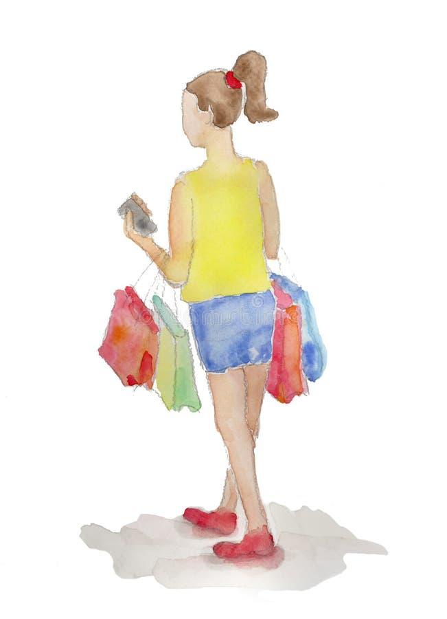 Zakupy dziewczyna malująca w akwareli odizolowywającej ilustracja wektor