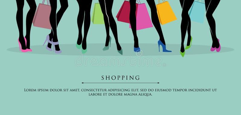 Zakupy dziewczyny ilustracja wektor