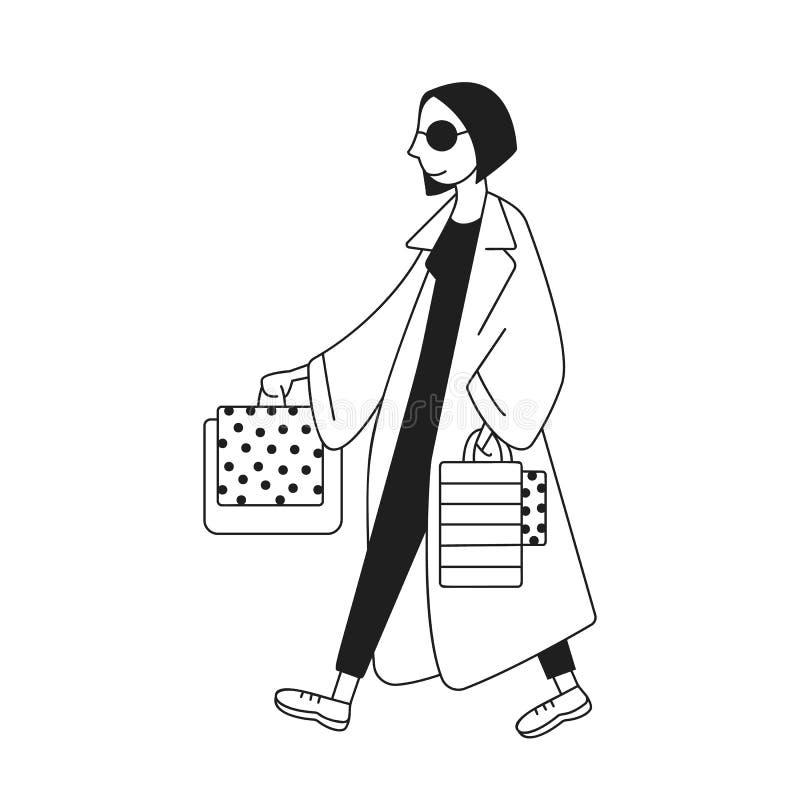 Zakupy dziewczyny ilustracja Wektorowy charakter ilustracji