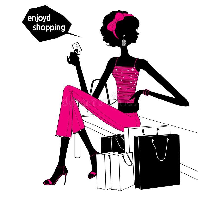 Zakupy dziewczyny sylwetka royalty ilustracja