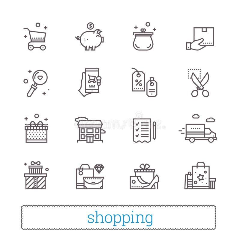 Zakupy, handel, handel detaliczny cienkie kreskowe ikony Sklepowi symbole: talony, wishlist, dostawa ślad, gotówka, towary i prez ilustracji