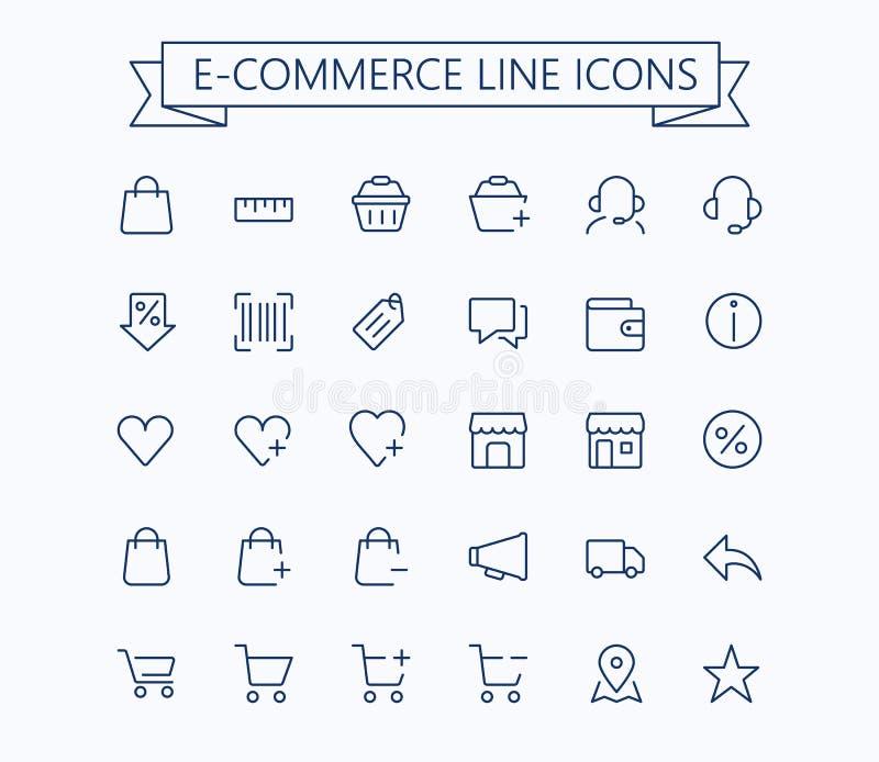 Zakupy, handel elektroniczny, online sklep, ecommerce wektoru cienkie kreskowe mini ikony ustawiać 24x24 siatka Piksel Perfect Ed ilustracji