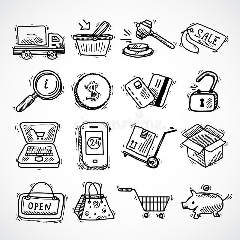 Zakupy handlu elektronicznego nakreślenia ikony ustawiać ilustracja wektor
