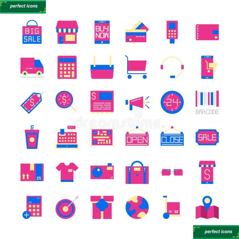 Zakupy i Ecommerce płaskie ikony ustawiać ilustracji