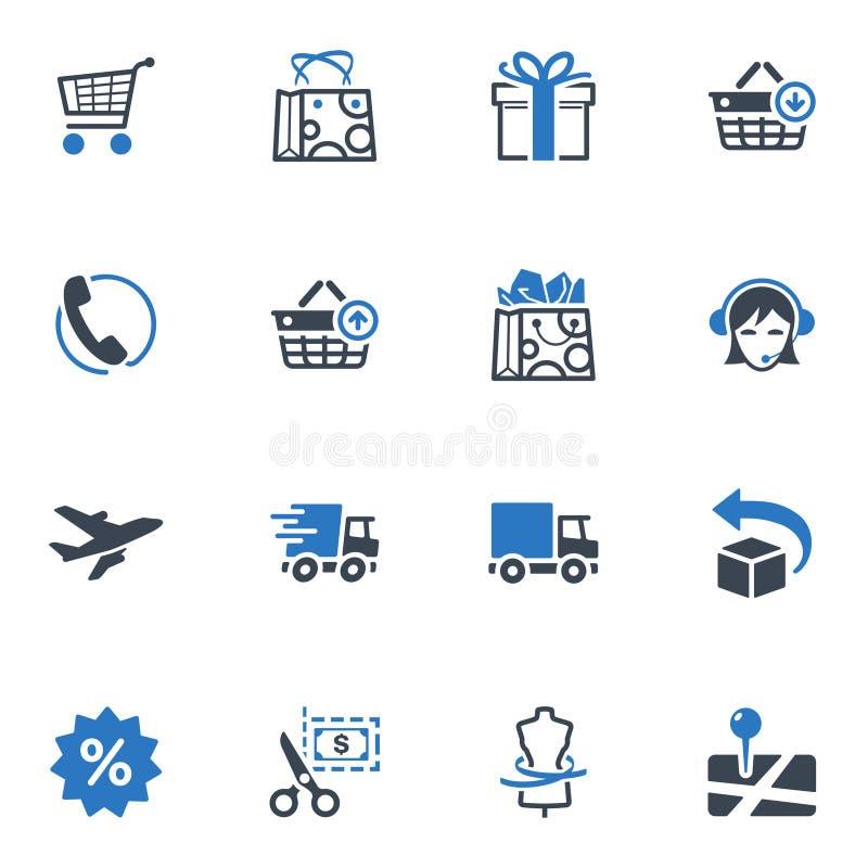 Zakupy i handel elektroniczny ikony, Ustawiają (1) - Błękitne serie royalty ilustracja