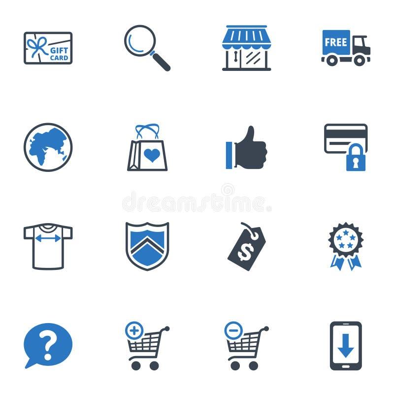 Zakupy i handel elektroniczny ikony, Ustawiają 2 - Błękitne serie royalty ilustracja