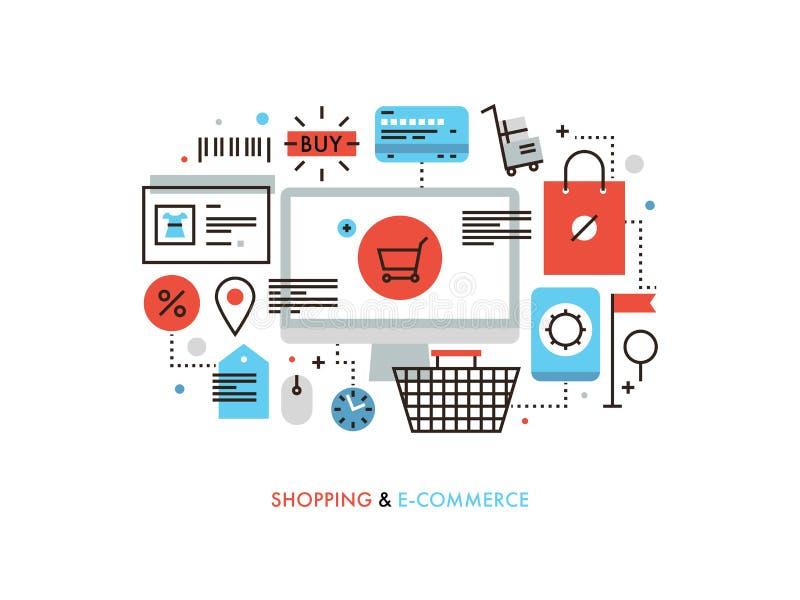 Zakupy i handel elektroniczny płaska kreskowa ilustracja ilustracja wektor