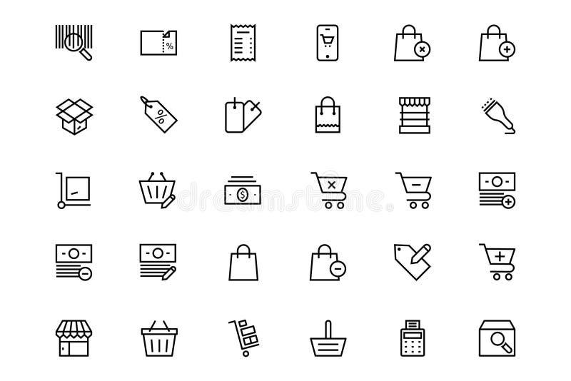Zakupy i handlu wektoru linii ikony 3 royalty ilustracja